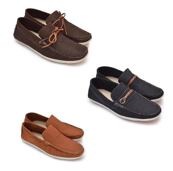 Kit 3 Sapatos Mocassim Masculino Couro Conforto Dia A Dia