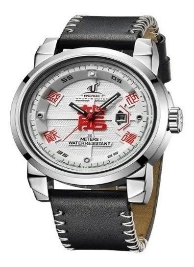 Relógio Branco Dragão Esportivo Militar Couro Weide Promoção