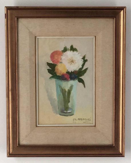 José Luis Menghi Vaso Con Flores Pastel Al Óleo Cuadro, Arte