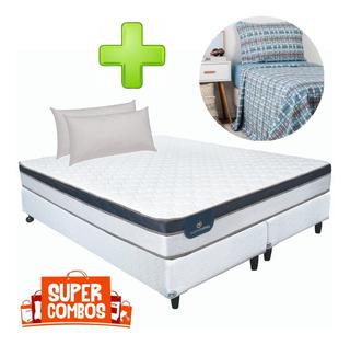 Somier + Colchon Serta Indiana Firm 180x2 +sábana +almohadas