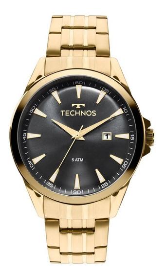 Relógio Technos Masculino Dourado Mostrador Preto 2115lar/4p