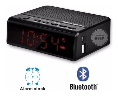 Radio Reloj Despertador Digital Recargable Fm Bluetooth Usb