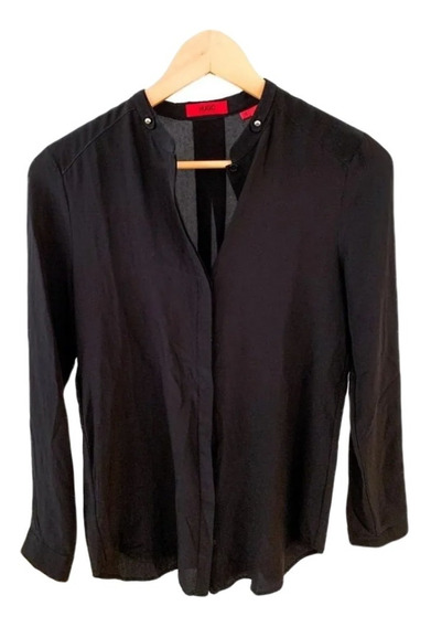 Camisa Negra Hugo Boss Mujer 100% Seda Importada