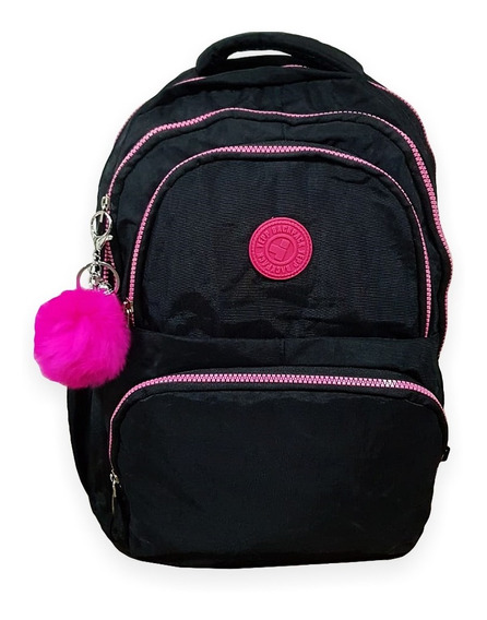 Mochila Teen Escolar Nylon Tactel +pompom/mb13005