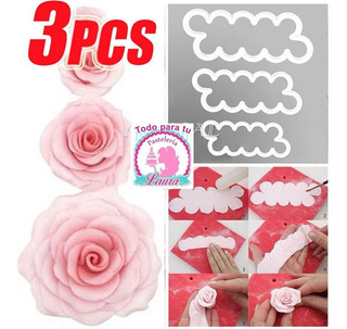 Molde Cortador Flores Rosas Fondant Set De 3