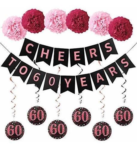 Imagen 1 de 7 de Kit De Decoraciones De La Fiesta Del 60 Cumpleaños Para Muj