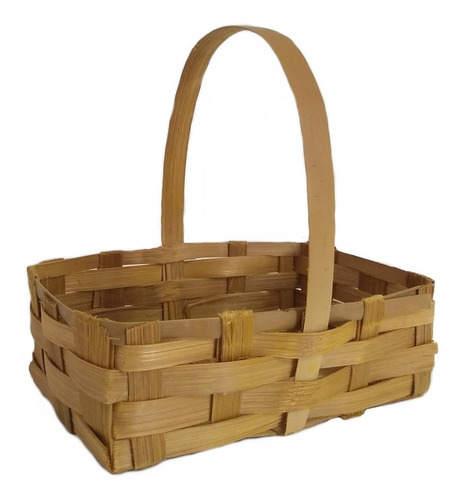 5 Mini Cesta Lembrancinha Bambu Pascoa Ref.1646 24x13x07