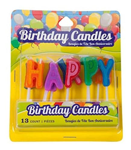 Imagen 1 de 4 de Toppers De Pastel De Velas Con Letras De Feliz Cumpleaños D