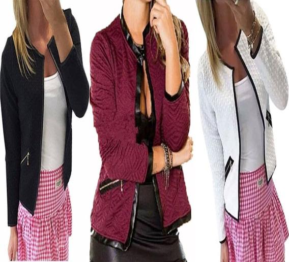 Kit 5 Jaqueta Casaco Blazer Blusa Inverno Jacquard Feminina