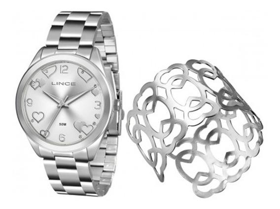Relogio + Bracelete Feminino Lince Prata Oferta