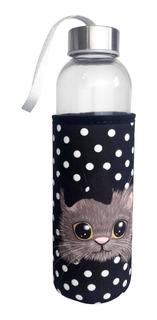 Squeeze De Vidro E Aço Inox C/ Capa Proteção Gatinho Poá