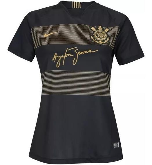Camisa Corinthians Ayrton Senna 2018 Feminina (personalize)