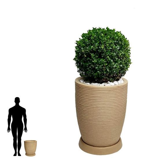 1 Vaso + Prato De Plantas Redondo Conico Cilindro R 45x35