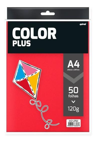 Papel 120g 210x297 Color Plus Vermelho 50 Folhas