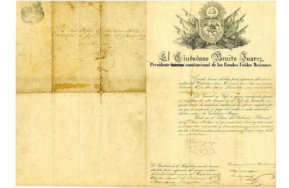 Documento Historico Firmado Por Benito Juarez Garcia