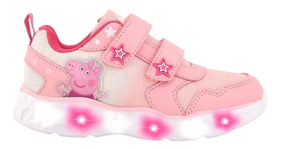 Zapatillas Footy Peppa Pig Rosa Claro Con Luces Original Fty
