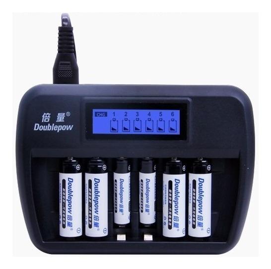 Carregador 6 Pilhas Aa Aaa Bateria Lcd Recarregável Visor