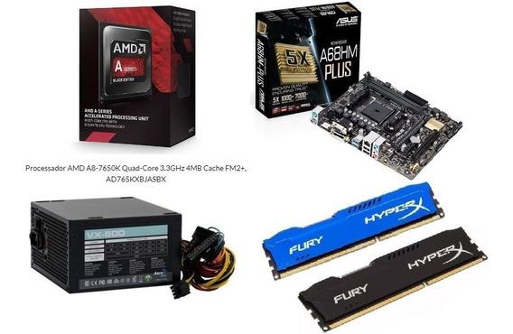 Kit Com Placa Mãe+memória+processador+fonte