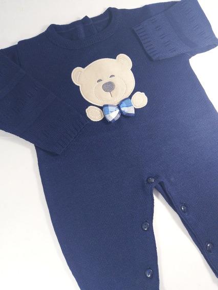 Macacão De Linha Menino Azul Marinho Urso S/ Body