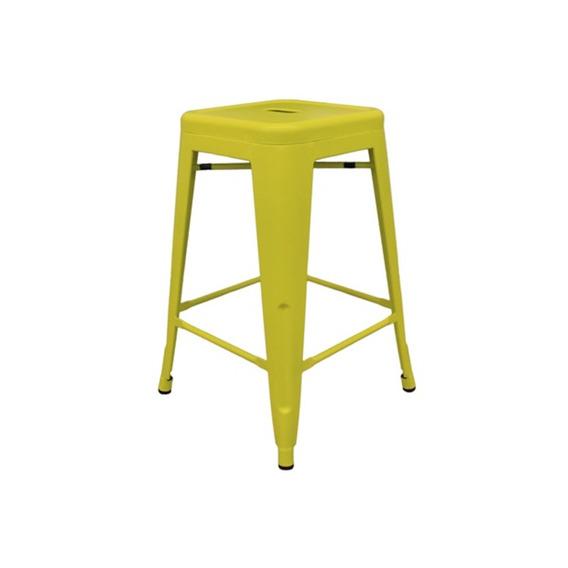 Banqueta Em Aço Fosca 61cm Amarela