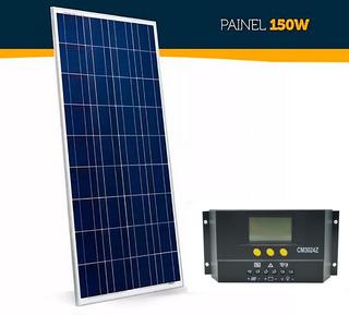 Kit Painel Placa Solar 150w Watts Controlador De Carga 30a Fotovoltaica Monocristalico Alta Resistência Ip65 Promoção