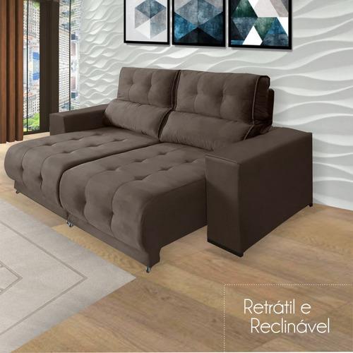Sofá Retrátil Reclinável Suede/veludo Importado Mamflex 3080