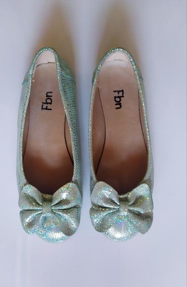 Zapatos Sandalias Chatitas Brillo Verde Agua