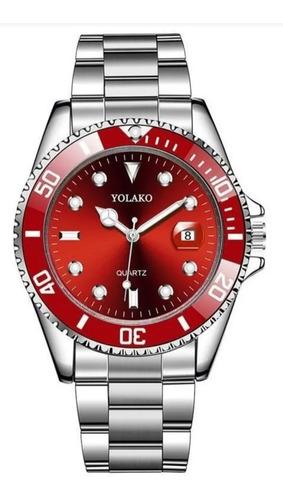 Relógio Yolako Inox Estilo Rolex Original Quartz Prova Agua