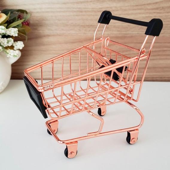 Carrinho Supermercado Mini Porta Treco Lápis Canetas Bronze