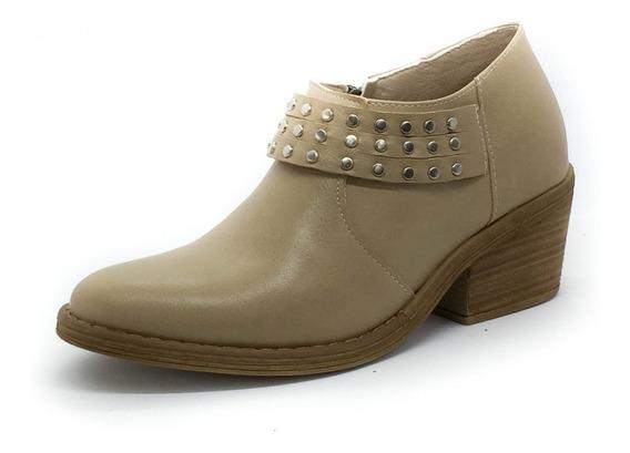 Zapato Botas Botitas Charritos Taco Tachas Texana Moda Beige