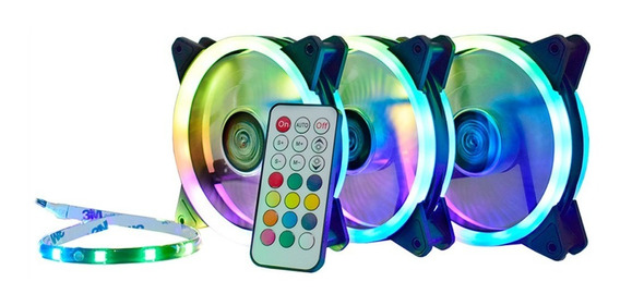 Kit 3 Fans Led Rgb Rainbow + Fita Led + Controle Af-s1225