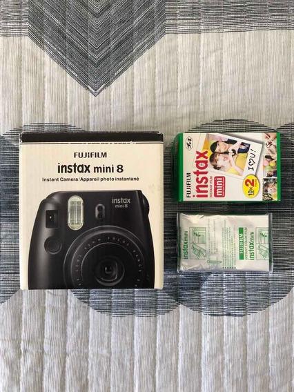 Câmera Instax Mini 8 Preta + 1 Caixa De Filmes Fotográficos