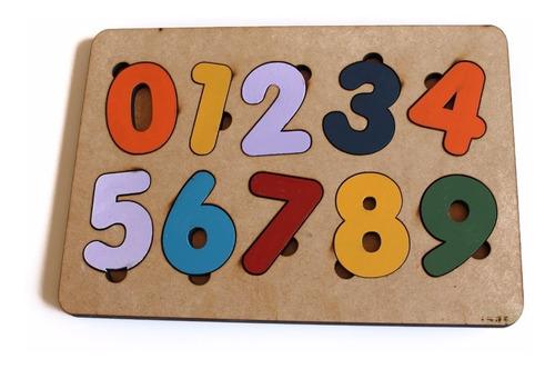 Brinquedo Tabuleiro Números Educativo Pedagógico Mdf Madeir