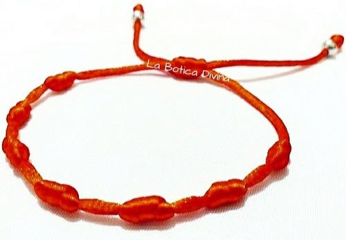 Pulsera De Hilo Rojo Siete 7 Nudos Con Acero Quirúrgico