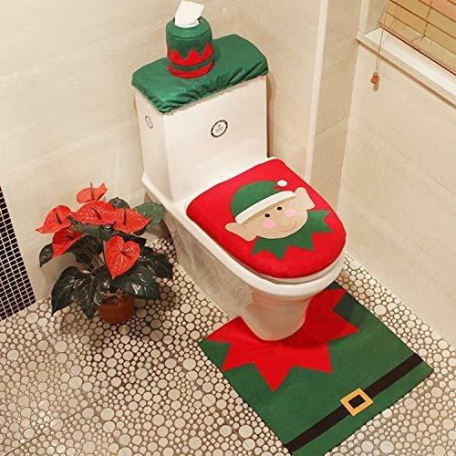 Imagen 1 de 7 de Funda De Asiento De Inodoro Christmas Elf De 3 Piezas Funda