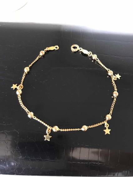 Pulseira Ouro 18k -banho- C/bolinhas E Estrelas -2,4 G