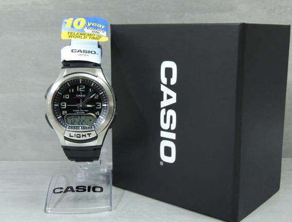 Relógio Casio Aq-180w-1bvdf - Anadigi - Hora Mundial - Nfe