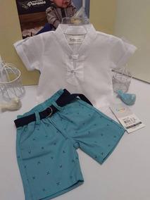 Conjunto Chique Paraiso Bebe Menino Bermuda Camisa Ref 7495
