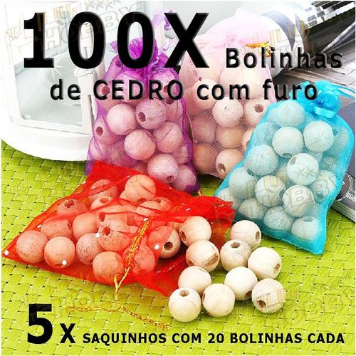 100x Bolas De Cedro Com Furo Roupas Gaveta Anti Traça Mofo
