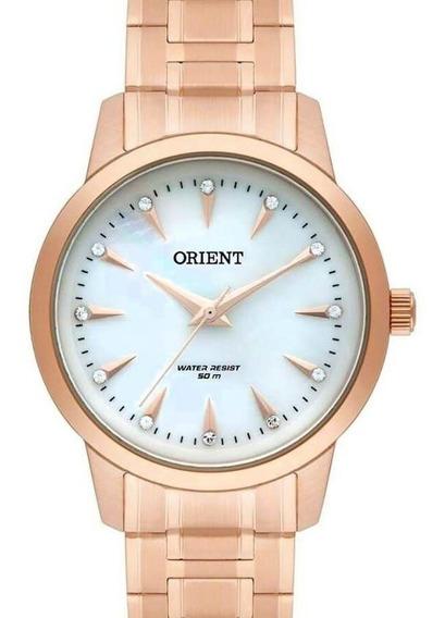 Relógio Orient Feminino Rose Gold Com Cristais Swarovisk E Madreperola