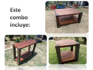 Combo De Mesa De Centro, Credenza Y Mesa Lateral Green Life