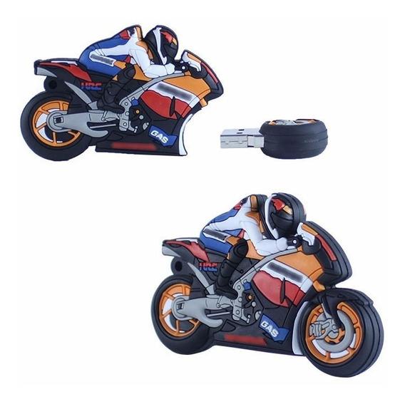 Pendrive Moto Superbike Emborrachado 16gb Reais Pen Drive