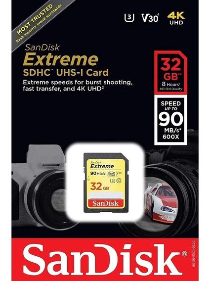 Cartão Sd Sdxc Sandisk Extreme 32gb 90mb/s Uhs-3 U3