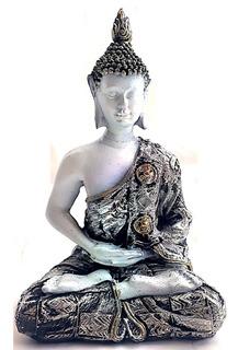 Figura Buda Siddharta Blanco Túnica Plateada Dorada 16x10 Cm