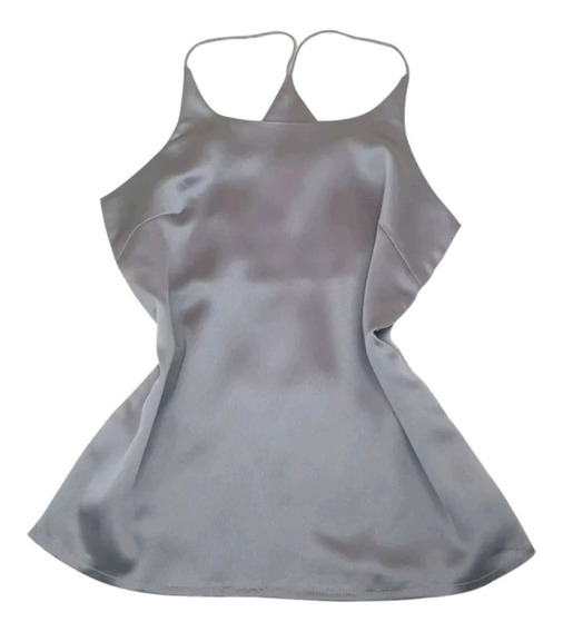 Blusa De Satin Slim De Tirantes, De Vestir/casual Para Dama