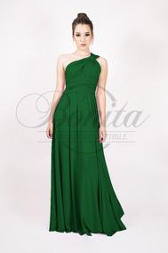 Vestido largo verde musgo