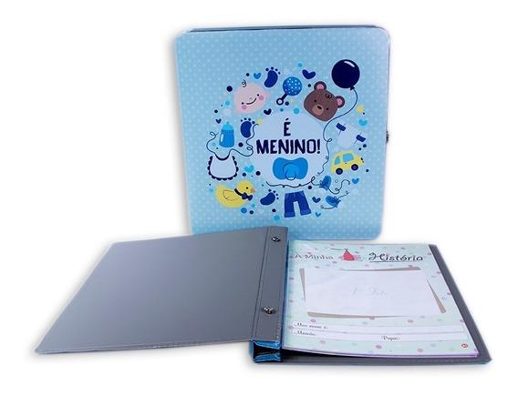 Álbum C/ Cx E Diário Do Bebê Azul- P/ 180 Fotos 20x25 Menino