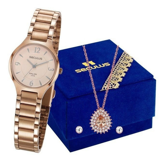Kit Relógio Seculus Feminino Colar E Brincos 77042lpsvra1k1