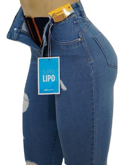 Calça Sawary Jeans Cintura Alta Original Super Lipo Sawary
