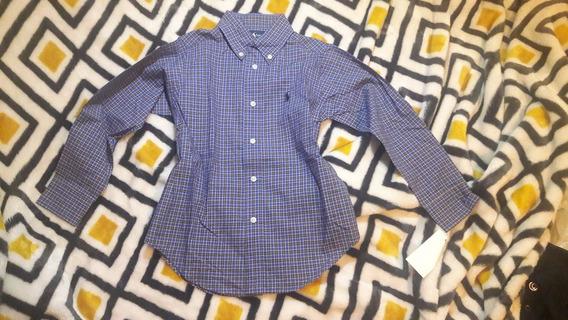 Camisa Ralph Lauren Azul Y Morado Manga Larga Talla 4